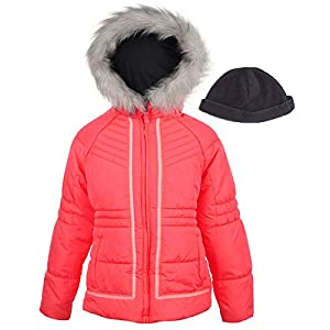 London Fog Big Girls' Hooded Puffer Jacket With Hat, Coral, 14/16