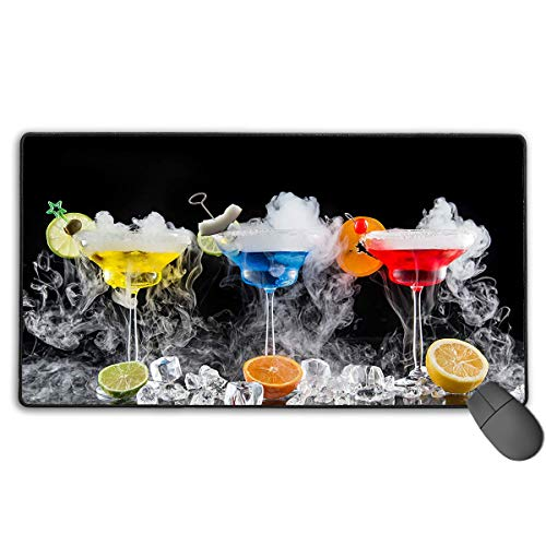 Extended Gaming Mouse Pad Drinks Colorful Cocktail Art Rectangle Rubber Mousepad 29.53 X 15.75 Inch Anti-Slip XXL Computer Mat]()