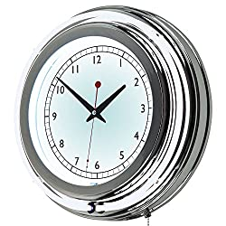 Trademark Gameroom 14 Inch Double Ring Neon Clock - Inner and Outer Ring White