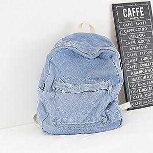 KEROUSIDEN retr? Zaino Jeans Art Institute di Vento Zaino in Tela Semplice Colore Puro Giovane Grande capacit? Borsa da Viaggio 32cm*40cm*15cm, Azzurro
