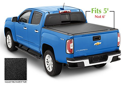 Chevrolet Colorado Rails Bed (Lund 968180 Genesis Elite Roll Up Truck Bed Tonneau Cover for 2015-2018 Chevrolet Colorado & GMC Canyon | Fits 5' Bed)