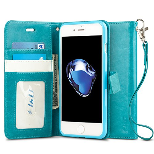 J&D Case Compatible for iPhone 8 Plus/iPhone 7 Plus Case, [Wallet Stand] [Slim Fit] Heavy Duty Shock Resistant Flip Cover Wallet Case for Apple iPhone 8 Plus, Apple iPhone 7 Plus Wallet Case - Aqua