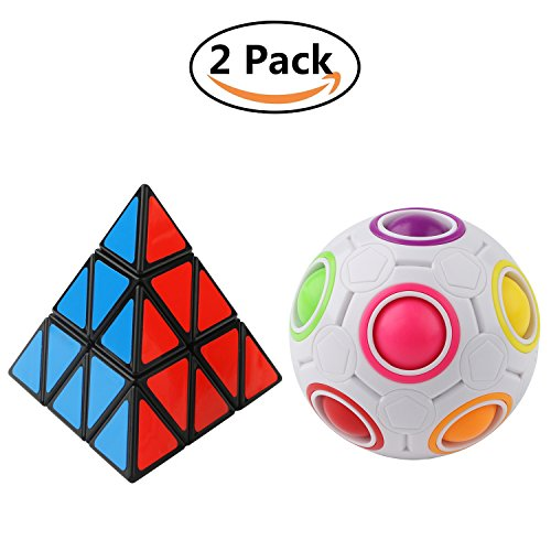 Magic Rainbow Ball Pyramid Speed Cube Triangle Magic Cube 3D Puzzles,2Pcs,Pyramid Speed Cube ,Cube Fidget 3D Puzzle Toys,Magic Rainbow Ball Puzzle Educational Toy for Kids and - How Figure Out Face Shape To