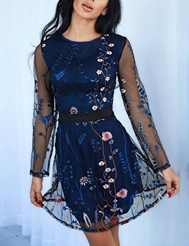 365e5bd877f Jual Ivrose Womens Floral Embroidery Casual Mesh Dress - Dresses ...