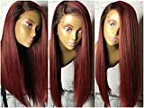 Human Hair Straight full lace wig 100% Real Brazilian Hair Ombre Black Roots 1B 99J Color 130% Density Wig For Black Women (20'', lace frontal wig)
