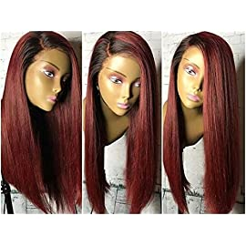 Human Hair Straight full lace wig 100% Real Brazilian Hair Ombre Black Roots 1B 99J Color 130% Density Wig For Black Women (16″, full lace wig)