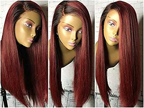 Human Hair Straight full lace wig 100% Real Brazilian Hair Ombre Black Roots 1B 99J Color 130% Density Wig For Black Women (18, lace frontal wig) Dream Beauty