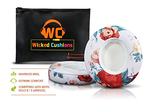 Wicked Cushions Beats Replacement Ear pads - Compatible with SOLO 2 / 3 Wireless On Ear Headphones by Dr. Dre ONLY ( DOES NOT FIT SOLO 2.0 WIRED ) | White Floral