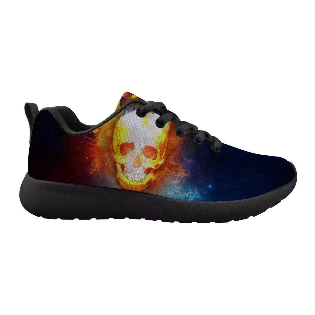 Xinind Cool Running Shoes with Skull Printing for Men Casual Sneakers Breathable Comfort Lightweight