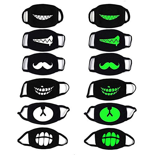 Luminous Mouth Mask,ZWZCYZ 6 Pack Unisex Teeth EXO Mask Cotton Anti Dust Face Mask Black for Party Halloween Cosplay]()