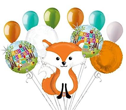 11 Pieza Woodland Fox Feliz Cumpleanos Ramo De Globos De Animales