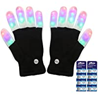 Amazer Kids Light Gloves Kid Children Finger Light Flashing LED Warm Gloves with Lights for Birthday Light Show Party Christmas Xmas Dance Best Great Gifts - Extra a set of Batteries for More Fun