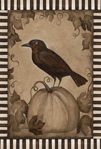 Toland Home Garden Pumpkin Crow 12.5 x 18 Inch Decorative Rustic Fall Autumn Halloween Bird Garden Flag