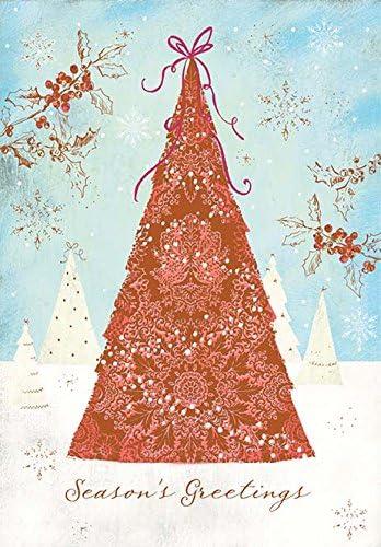 Pack de 5 tarjetas de Navidad de lujo árbol de Navidad: Amazon.es: Oficina y papelería