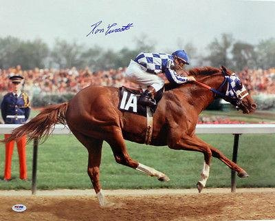 Ron Turcotte 1973 Kentucky Derby Secretariat Signed 16X20 Color Photo - PSA/DNA Certified - Autographed Horse Racing Photos