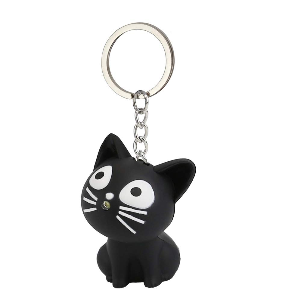 Emerayo Cute Animal Keychain Flashlight Kids Toy Gift with LED Light and Sound Keyfob (Black Cat, One)