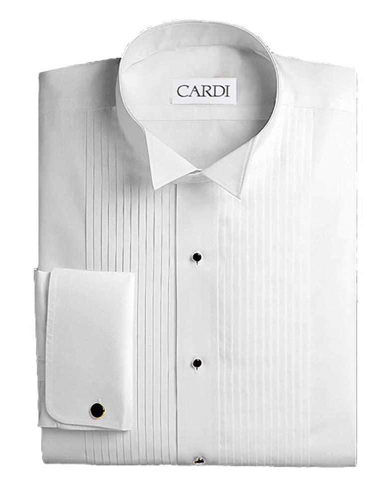 Cardi Men's Tuxedo Shirt 100% Cotton Wing Collar 1/4 Pleat Slim Fit1453233 White by Cardi