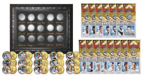 BASEBALL LEGENDS 15-Coin Set 24K Gold Plated State Quarters w/Display SUPER SALE by Merrick Mint