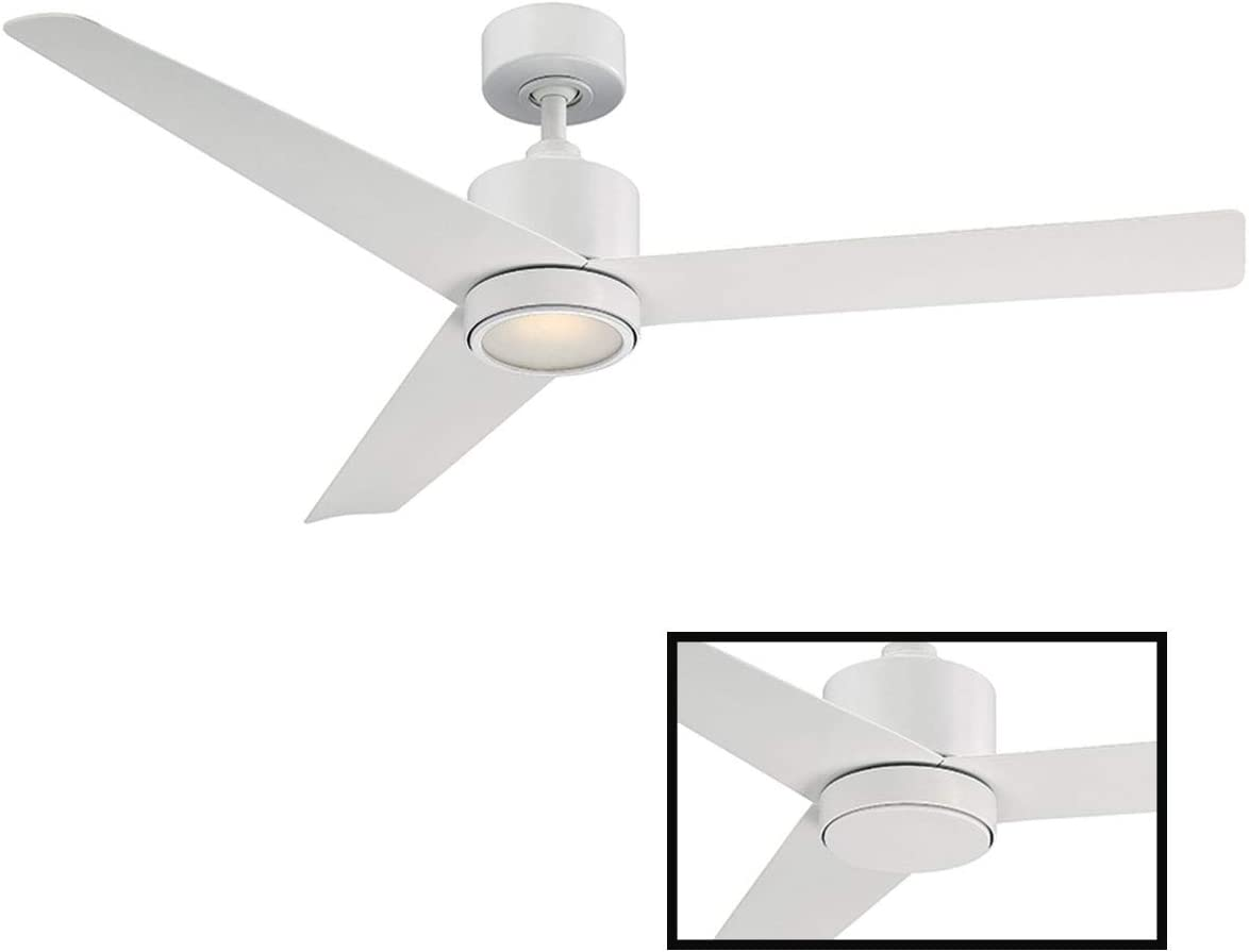 Lotus Indoor/Outdoor 3-Blade Smart Ceiling Fan 54in Matte White with 3000K LED Light Kit and Wall Control works with iOS/Android, Alexa, Google Assistant, Samsung SmartThings, and Ecobee