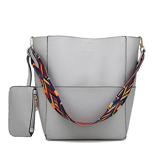 Bolso De La Cinta De La Moda De Las Mujeres Bolso De Hombro Salvaje Bolsos De Gran Capacidad Compras Grey