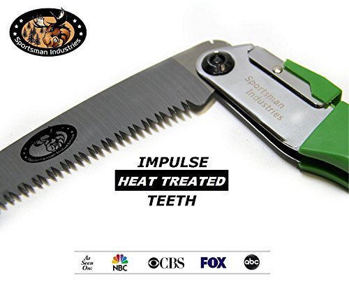 Review SPORTSMAN FOLDING HAND SAW – 10 Inch Long CURVED BLADE & Nylon Sheath 5yr Guarantee Best Tree Trimmer, Pruning Saw for Camping Gear, Hunting, Survival Kit or Gardening. Rips Through Wood & Bone