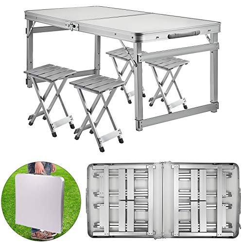 Happybuy Aluminum Folding Picnic Table with 4 Benches 4 Person Adjustable Height Portable Camping Table and Chairs Set for Office Garden Outdoor