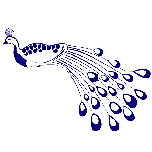 Classic Elegant Peacock Wall Decal Interior Decorating Art, Facing Right, Color King Blue, Large Iridescent Peacock Blue Art
