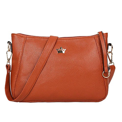 Shoulder Handbags Vintage Messenger Small Crossbody Widewing PU Purse Leather Women Brown 0Bq8dzw