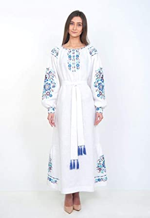 29b564987ad 100% Linen Dress - Vyshyvanka - with Real Embroidery - Modern Designed  Women s Ukrainian National
