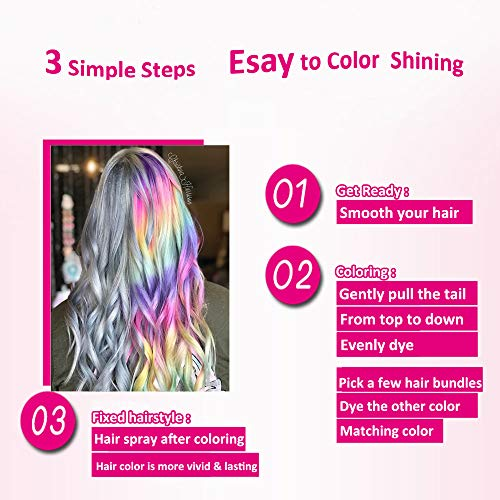 Runlong Hair Chalk Comb 6 Colors for Teen Girls, Cosplay, Halloween, Ball Party, Gifts For Girls