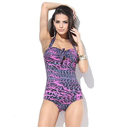 Vissgirl Europe Leopard Halter Swimsuit Sexy Bikini Swimsuit Beach Seaside Wear(XXL)