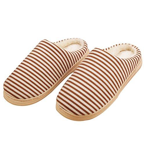 Rosesummer Stripe Couple Warm Cotton Home Slipper Zapatos De Casa De Invierno Café