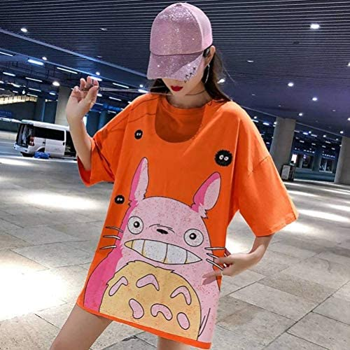 O&YQ Women's Medium long T-Shirt Short Sleeve Summer Half Sleeve Loose Cotton Top, Orange, s