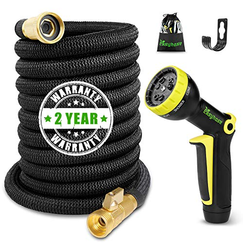 EASYHOSE 50ft Garden Hose,Expandable Water Hose with Stronger Double Latex Inner Tube and Solid Brass Prevent Leaking Expanding (with Valve) Yard Hose with Extra Strength Fabric(2018 Upgraded)