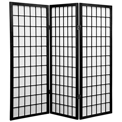 Oriental Furniture Smaller Office Height, 48-Inch Short Window Pane Shoji Privacy Screen Room Divider, 3 Panel Black WP48-BLK-3P