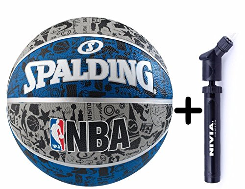 Team Handball Dimensions (Spalding Basketball Graffiti Grey/Blue Combo ( Spalding NBA Graffiti Basketball, Grey/Blue + Nivia Air Ball Pump))