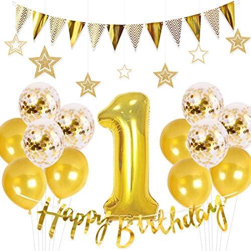一歳 誕生日飾り付け セット ゴルード バルーン 三角形 フラッグ 星 華やか 誕生日 パーティー装飾 子供 男女通用