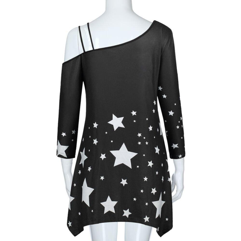 Uscharm Skew Shoulder Dress Fashion Womens Girl Strapless Star Print Casual Skew Collar Mini Dress