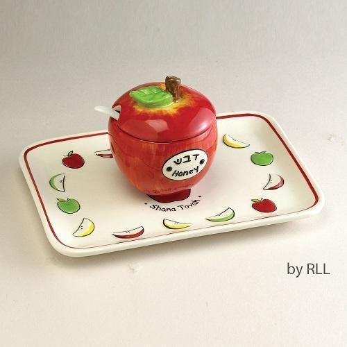 Ceramic Apple Honey Dish Set Ceramic Honey Dish