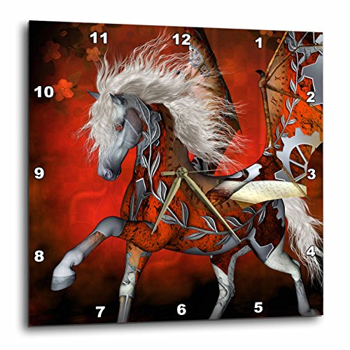 3dRose Heike Köhnen Design Steampunk – Awesome Steampunk horse with wings – Wall Clocks