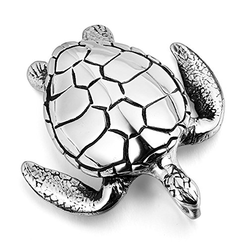 MENDINO Mens Stainless Steel Sea Turtle Pendant Necklace Silver Tone with a 22 inch Chain