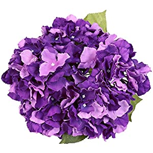 Luyue 5 Big Heads Artificial Silk Hydrangea Bouquet Fake Flowers Arrangement Home Wedding decor (Dark Purple) 117