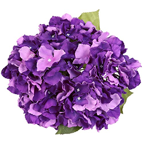 Purple Hydrangea Bouquet - Luyue 5 Big Heads Artificial Silk Hydrangea Bouquet Fake Flowers Arrangement Home Wedding decor (Dark Purple)
