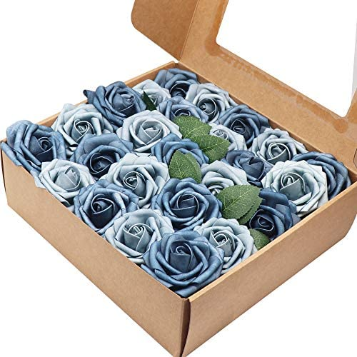 50pcs Artificial Roses Flower,Real Touch Artificial Foam Roses w/Stem DIY for Wedding Bridal Bouquet Centerpieces Party Baby Shower Home Decorations (50pcs-Dusty Blue Shades)
