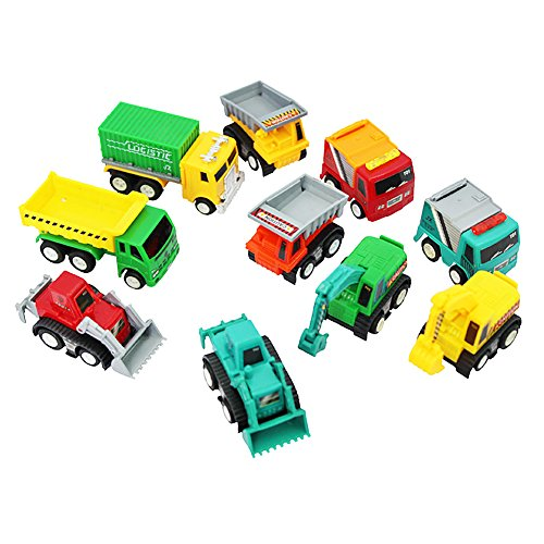 6MILES 10 Pcs Mini Push Pull Back Car Model Kit Set Plastic Play Vehicle Construction Excavator Dump Truck Playset Preschool Learning for Children Toddlers for Kid Baby Christmas Birthday Gift Set
