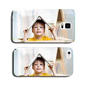 kid boy playing in a toy house cell phone cover case iPhone5
