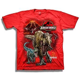 Jurassic World Boys 2 T-rex & Raptor Short Sleeve T-Shirt Short Sleeve T-Shirt - red - 5/6