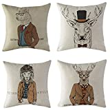 WOMHOPE 4 Pcs [Just Covers] - Animal Watercolor Pattern Cotton Linen Pillow Covers Throw Covers Square Cushion Pillowcase Decorative Pillow Shams (Winter Animal (Set of 4 pcs))