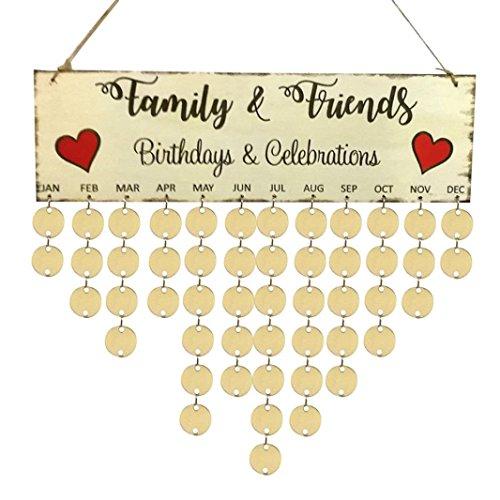 molyveva DIY tabla de recordatorio de madera para cumpleaños placa para calendario familiar de abedul