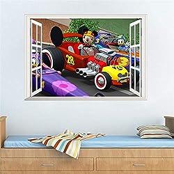Mickey Mouse Donald Duck 3D Window Racing Car Wall Sticker Decorative Nursery Boy Room Decor Home Decal Mural